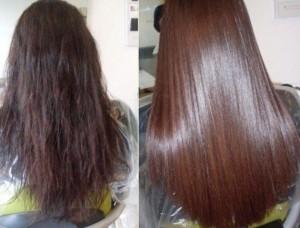 До и после кератинового лечения волос