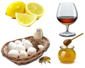 лимон, коньяк, яйцо, мед